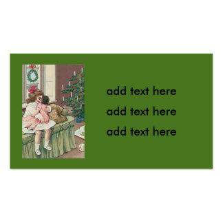 Christmas Morning Tree Present Girl Doll Business Card