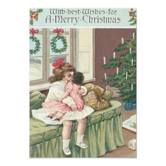 Christmas Morning Tree Present Girl Doll Card