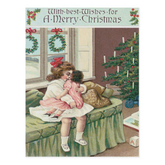 Christmas Morning Tree Present Girl Doll Postcard