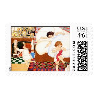 Christmas Morning Vintage Christmas Postage Stamps