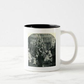 Christmas Morning Vintage Victorian Stereoview Two-Tone Coffee Mug
