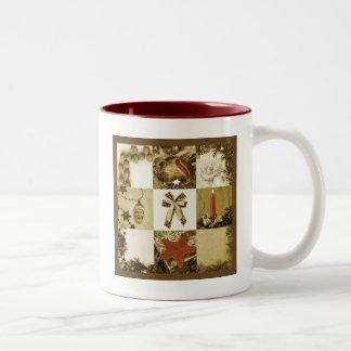 Christmas mosaic Two-Tone coffee mug