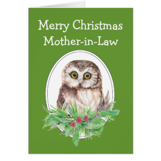Christmas Mother-in-Law Cute Owl Bird Holly PIne Greeting Card