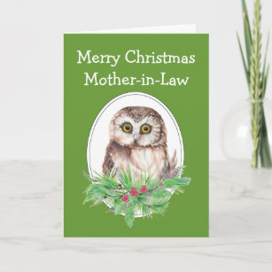 christmas mother in law cute owl bird holly pine holiday card