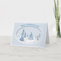 CHRISTMAS - MOTHER - SNOW/TREE/SCENIC HOLIDAY CARD