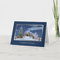 Christmas, Mother, Snowy Winter Scene Holiday Card