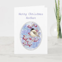 Christmas Mother  Winter Bird Berry Frosty Window Holiday Card