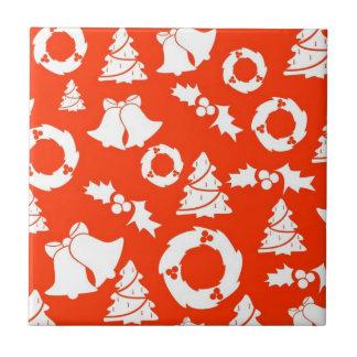 Christmas Motif Background Ceramic Tile