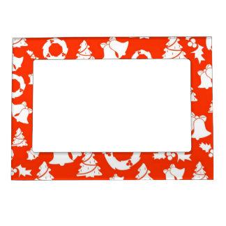 Christmas Motif Background Magnetic Photo Frame