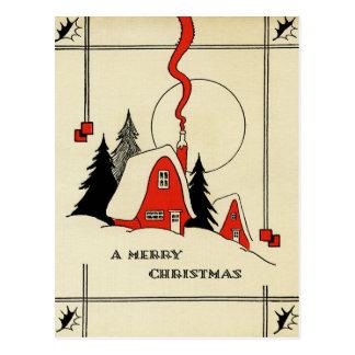 Christmas Mountain House Vintage Postcard