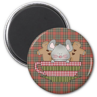christmas mouse and gingerbread cup 2 inch round magnet