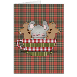 christmas mouse and gingerbread cup greeting cards
