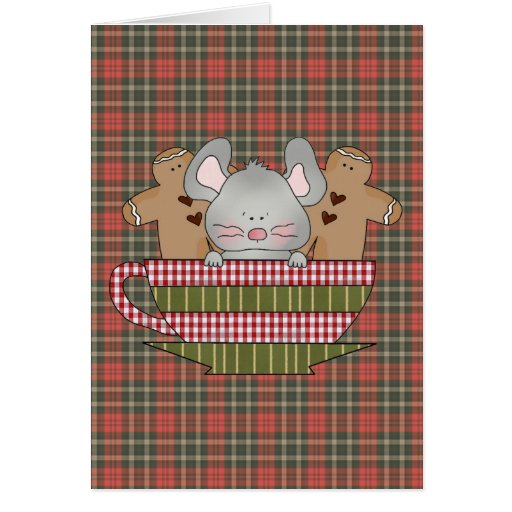 christmas mouse and gingerbread cup card