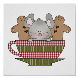 christmas mouse and gingerbread cup print