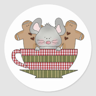 christmas mouse and gingerbread cup round sticker