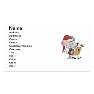 Christmas Mouse and Rudolph Business Card Templates