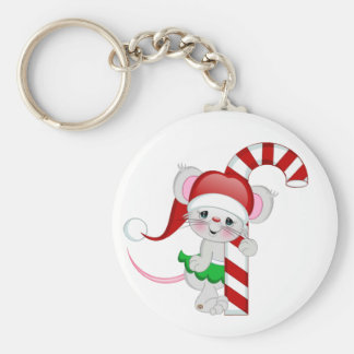 Christmas Mouse Candy Cane Basic Round Button Keychain