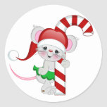 Christmas Mouse Candy Cane Classic Round Sticker
