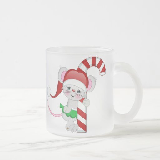 Christmas Mouse Candy Cane 10 Oz Frosted Glass Coffee Mug