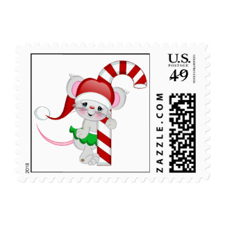 Christmas Mouse Candy Cane Postage Stamp