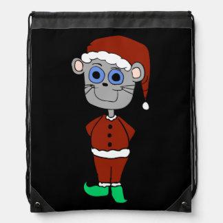 Christmas Mouse Cartoon Drawstring Bags
