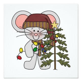 Christmas Mouse Decorating Tree Invitation