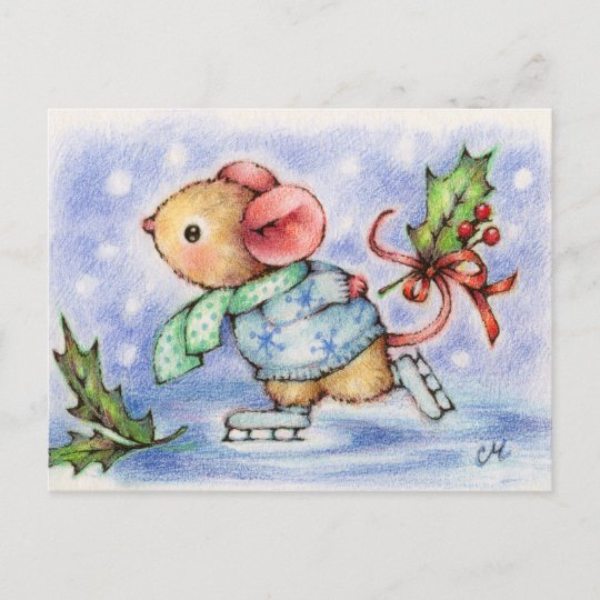 Christmas Mouse.Christmas Mouse Ice Skating Cute Animal Postcard