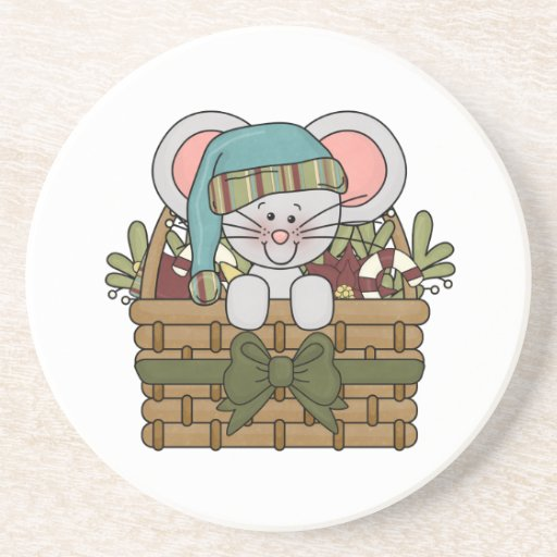 Christmas Mouse in Basket Beverage Coasters