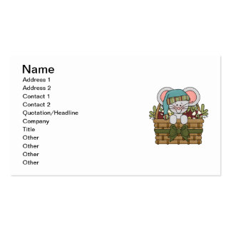 Christmas Mouse in Basket Business Card Templates