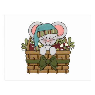 Christmas Mouse in Basket Postcard
