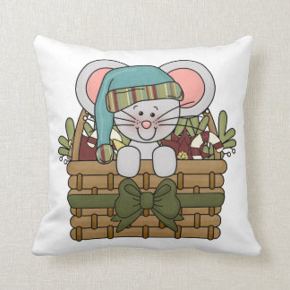 Christmas Mouse in Basket Throw Pillow