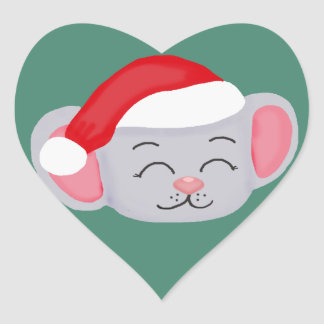 Christmas Mouse Heart Stickers