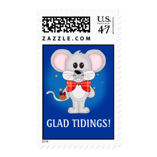 Christmas Mouse with Custom Text Postage