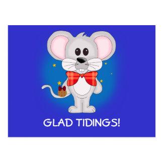 Christmas Mouse with Custom Text Postcard