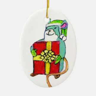 CHRISTMAS MOUSE WITH GIFT ornament