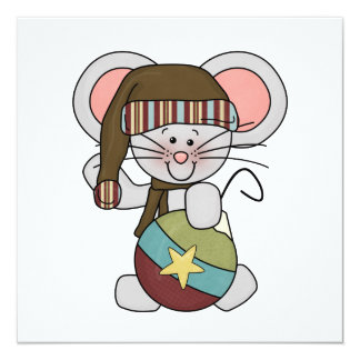 Christmas Mouse With Ornament 5.25x5.25 Square Paper Invitation Card