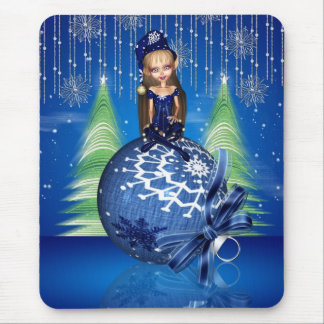 Christmas Mousepad With Cute Elf On Bauble