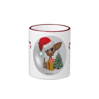 Christmas Mousey Dog Ringer Mug