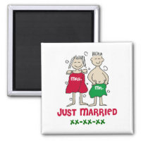 Christmas Mr Mrs Just Married Magnet