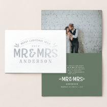 Christmas Mr & Mrs wedding announcement foil photo