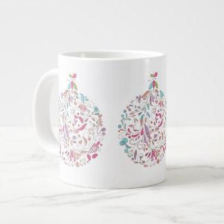 Christmas Mug, Pastel Floral Ornament Design Giant Coffee Mug