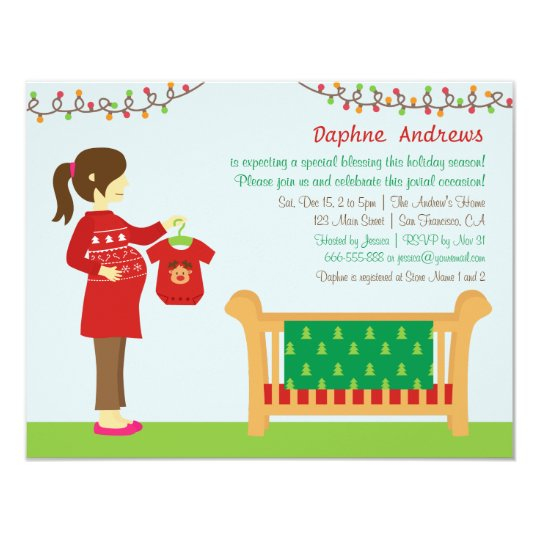 Mums Baby Shower: Christmas Mum Baby Shower Party Invitations