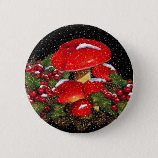 Christmas Mushroom, Toadstools, Snow, Holly Button