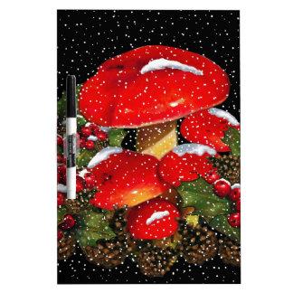 Christmas Mushroom, Toadstools, Snow, Holly Dry Erase Board