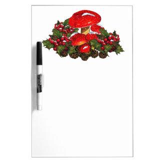Christmas Mushroom, Toadstools, Snow, Holly Dry-Erase Whiteboards