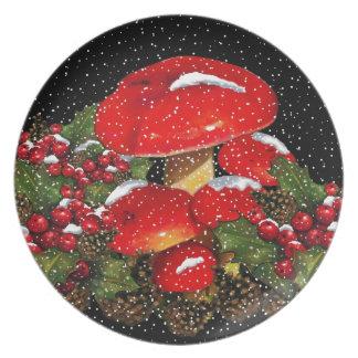Christmas Mushroom, Toadstools, Snow, Holly Dinner Plates
