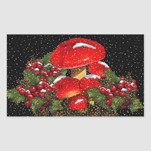 Christmas Mushroom, Toadstools, Snow, Holly Rectangle Stickers