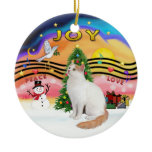 Christmas Music2 - Turkish Van Cat Double-Sided Ceramic Round Christmas Ornament