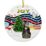 Christmas Music #1- Brown Tabby Tiger cat Ornament