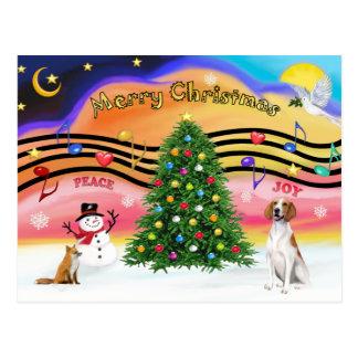 Christmas Music 2 - American Foxhound (with fox) Postcard